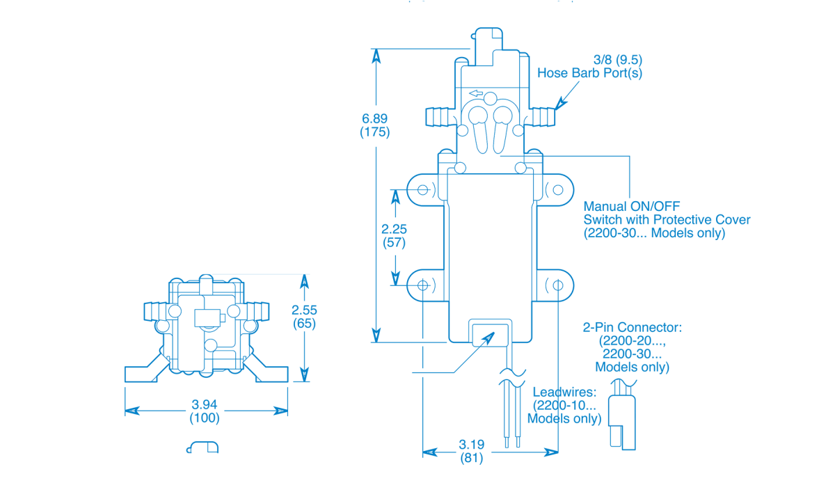 2200 Series – 1.2 GPM Diaphragm Pump Technical Drawing