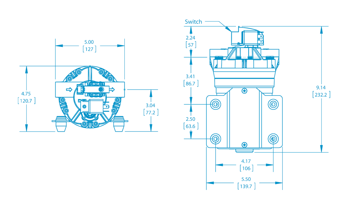 Bypass-Demand Diaphragm Pumps Technical Drawing