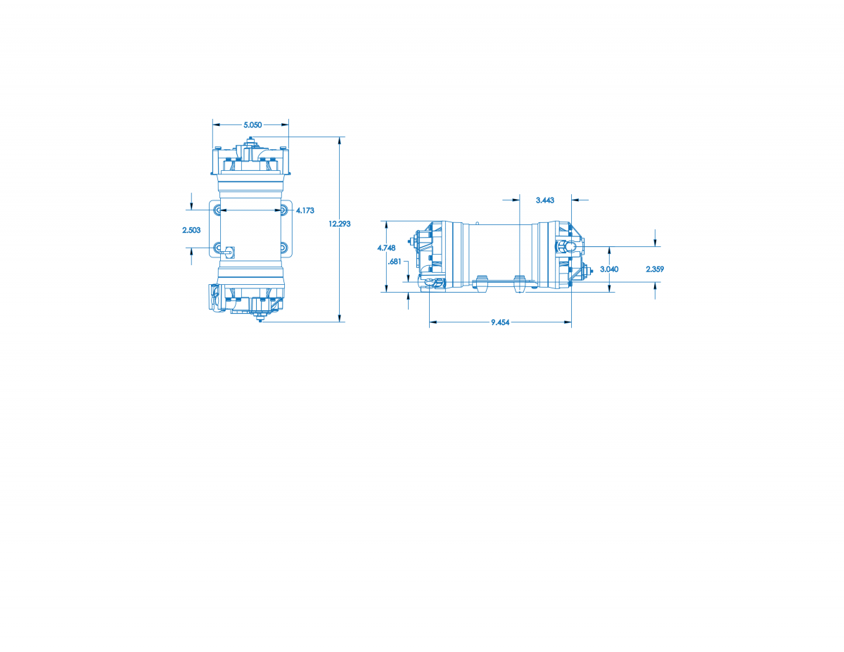 FB6 Series – 10 GPM Double Pump Technical Drawing