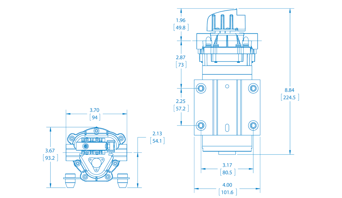 Extreme Duty Demand Diaphragm Pump Technical Drawing