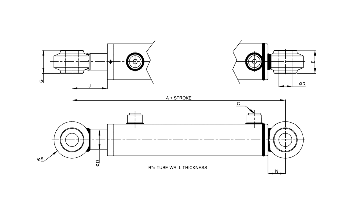 Series A – Spherical Bearing Style 3000 PSI Technical Drawing