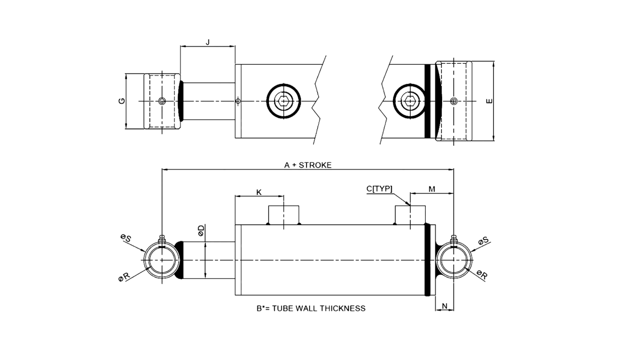 Series B – Cross Tube Style 3000 PSI Technical Drawing