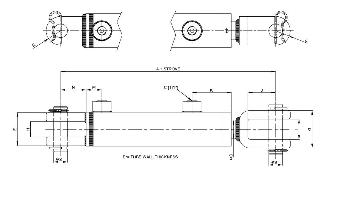 Series C – Welded Clevis Style 3000 PSI Technical Drawing