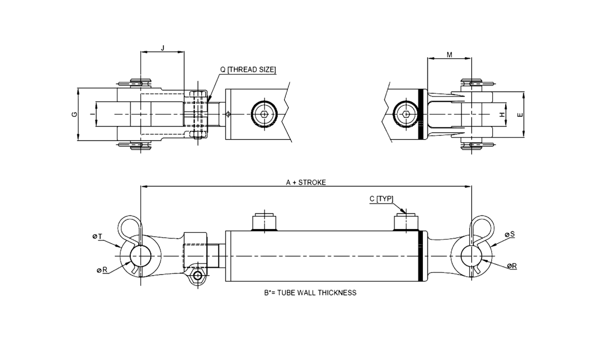 Series D – Threaded Clevis Style 3000 PSI Technical Drawing