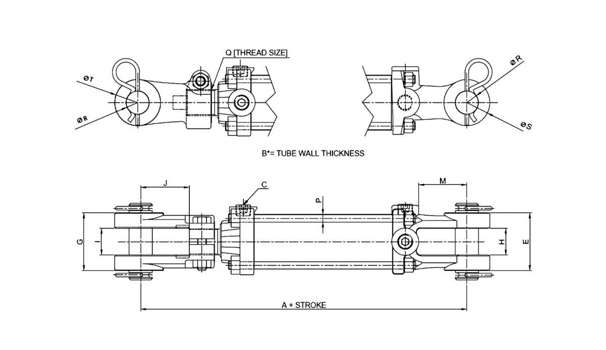Series E – Tie Rod Style 3000 PSI Technical Drawing