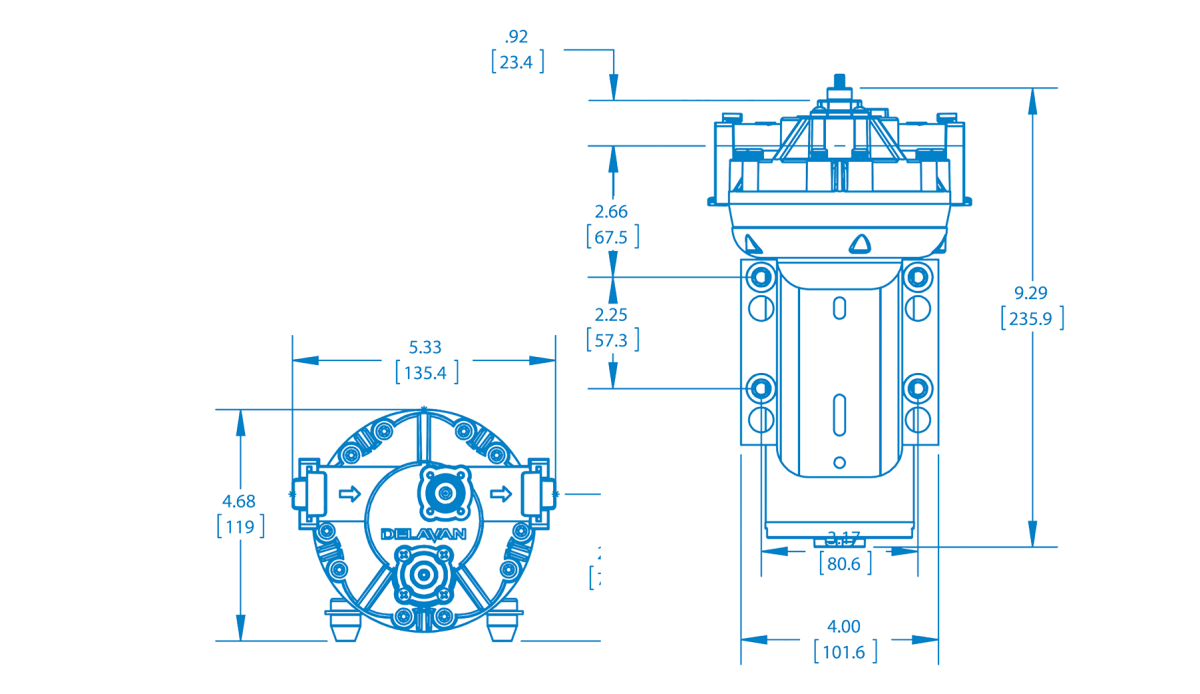 5800/5900 Series: 3.0 to 5.0 GPM Pumps Technical Drawing