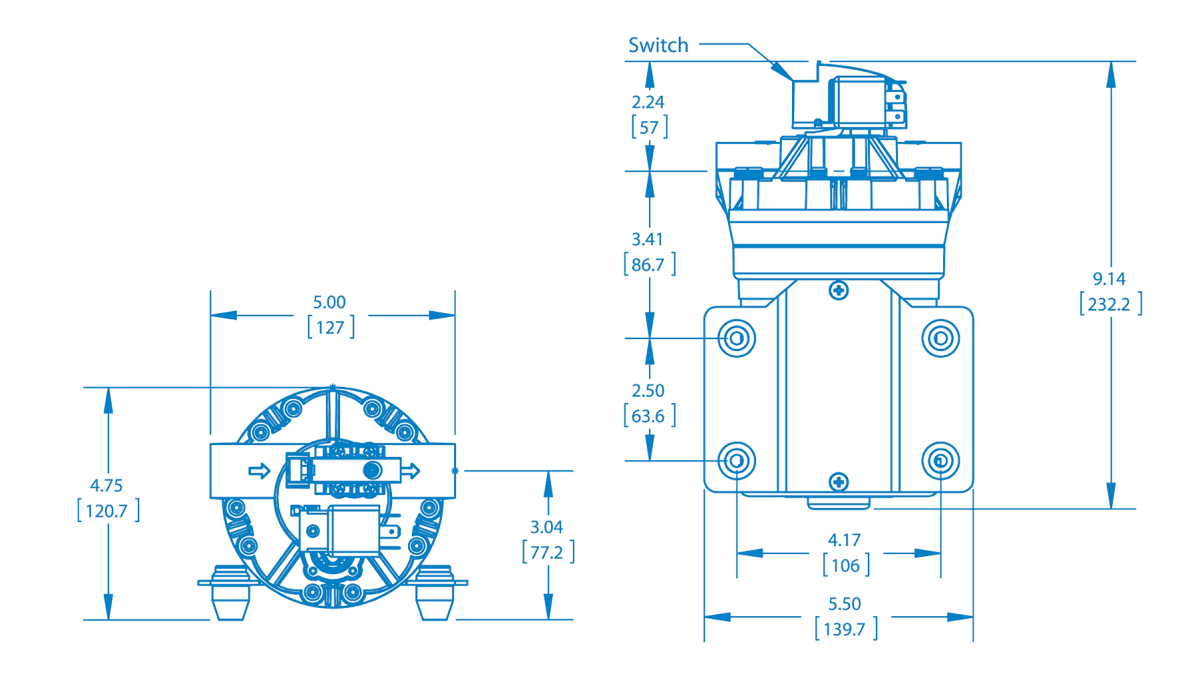 FB2 Series: 7.0 GPM Pumps Technical Drawing