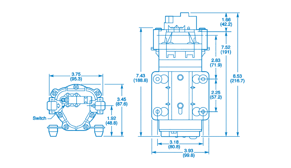 FLEX Series: 2.2 GPM Universal Replacement Pumps Technical Drawing